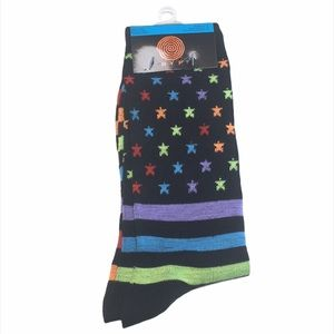 HYP Stars and Stripes Crew Socks, Black, Rainbow